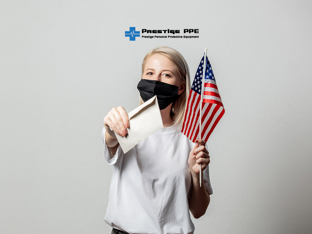 prestigeppe personal protective equipment face mask surgical mask n95 kn95 laser thermometer infrared wrist thermometer personal protection equipment nitrile gloves Blonde girl in face mask with USA flag and money on white background Vera vote_000001.jpg